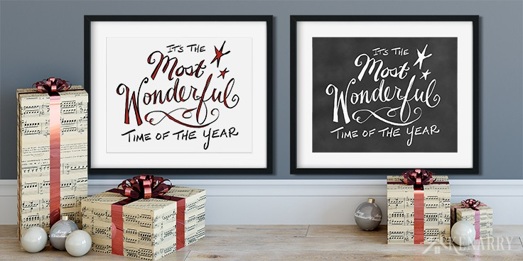 Decorate your home for the holidays with Christmas free printables. These two digital prints featuring