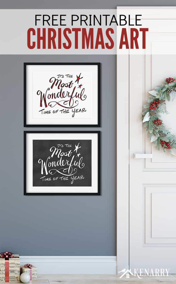 Love to decorate with Christmas free printables? These two digital prints featuring