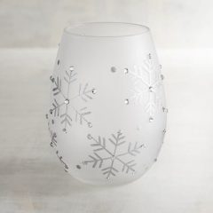 Frosted Snowflake Stemless Wine Glass - Pier 1