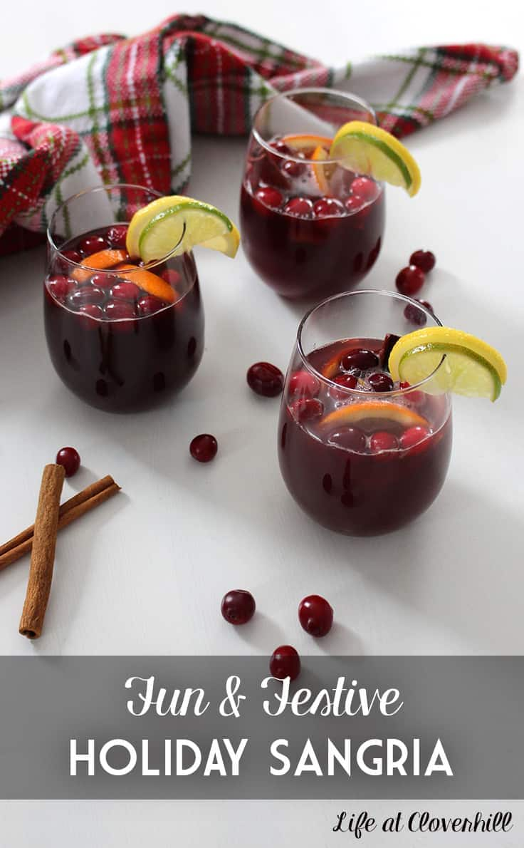 This festive and colourful Holiday Sangria is a sweet wine cocktail loaded with fruit and spice. Make this budget-friendly drink ahead of time and then pull the pitcher out of the fridge just as guests are arriving.
