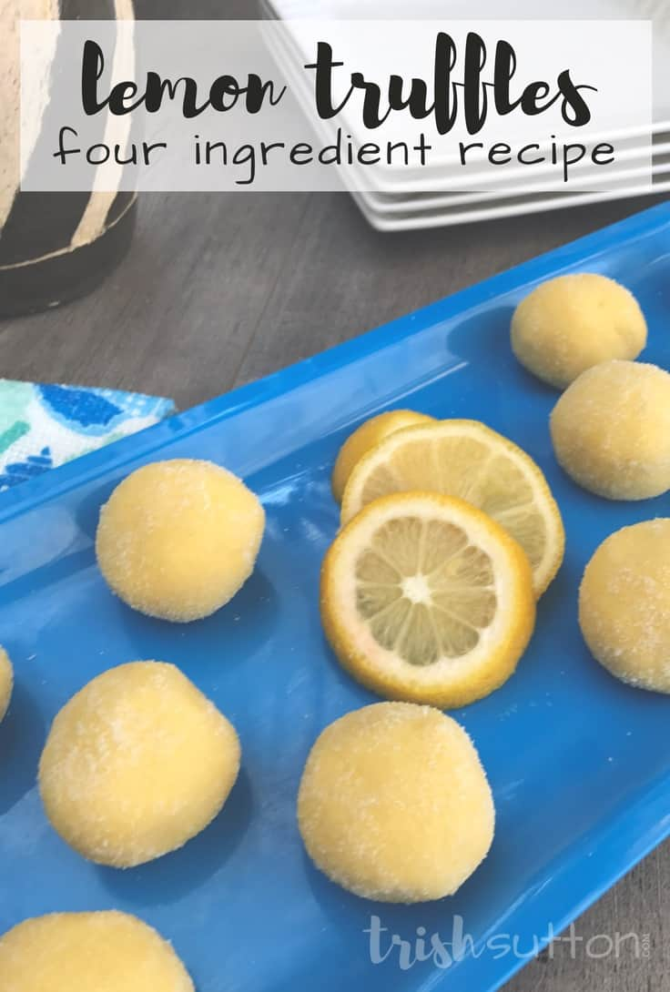 Lemon Truffles or cake balls with Four Simple Ingredients on a blue plate