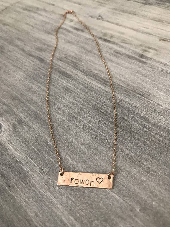 Rose Gold Personalized Bar Necklace from The Sleek Kitty- Etsy
