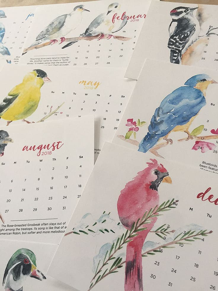 2018 Watercolor Calendars make the perfect holiday gift