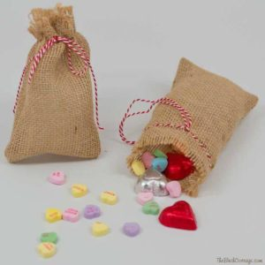 DIY Burlap Valentine's Day Gift Bags by The Birch Cottage