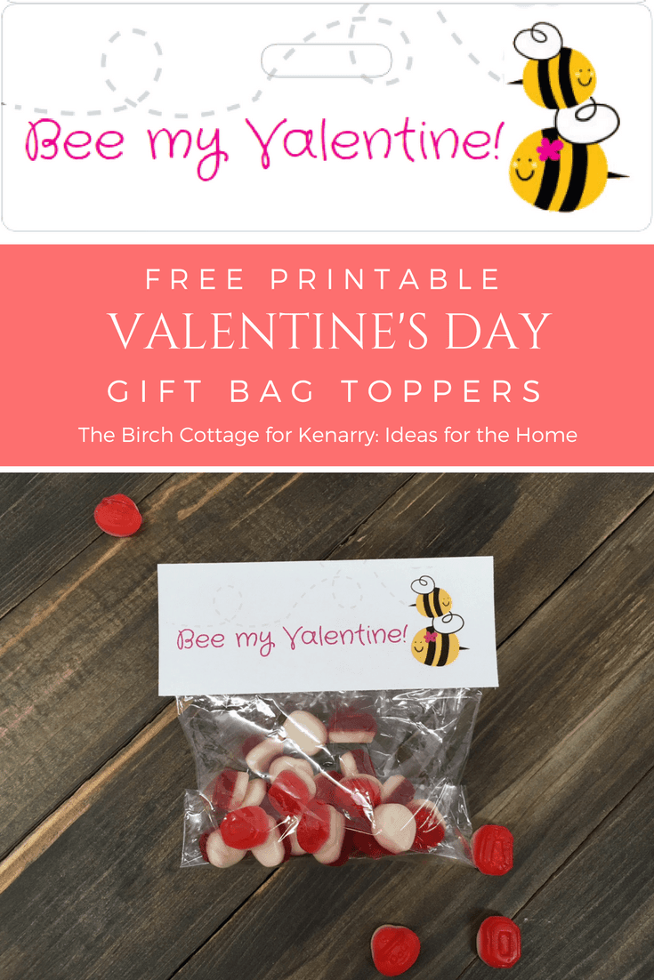Bee My Valentine Valentine's Day Valentine Gift Bag Toppers by The Birch Cottage