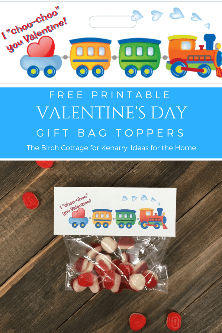 Choo Choo Valentine's Day Valentine Gift Bag Toppers by The Birch Cottage
