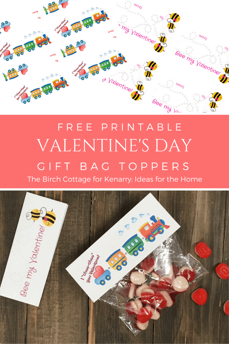 Valentine's Day Gift bag toppers by The Birch Cottage