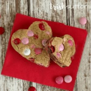 Valentine Heart Cookie Bar Recipe; TrishSutton.com