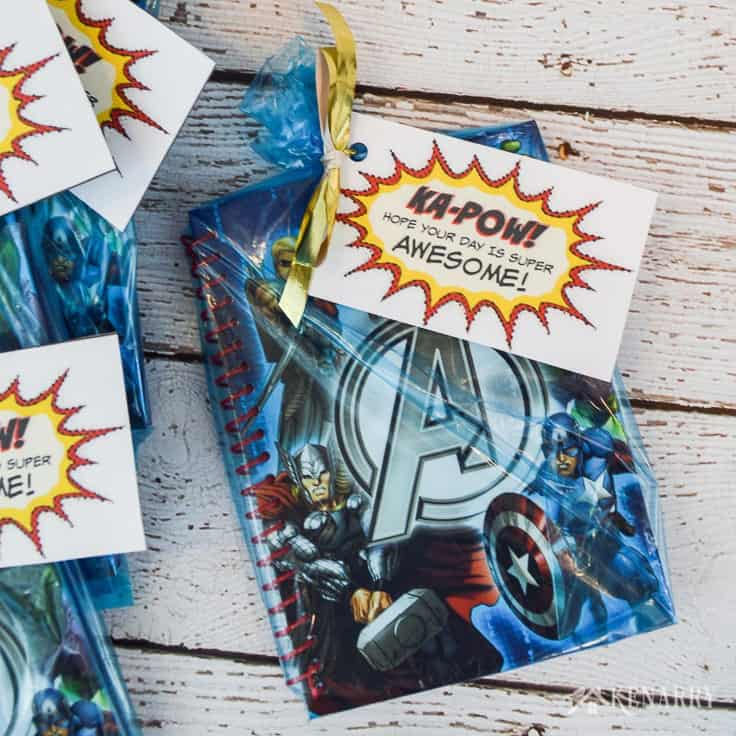 Create special Avengers Party Favors for your child's birthday party using Marvel stickers, notebooks, treats and these free printable super hero tags.