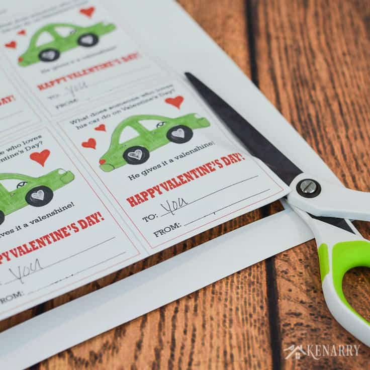 These free printable Car Valentines for children are so cute! I love the funny joke on these Valentine's Day cards and how they can use candy or toy cars as an inexpensive treat for kids to give their friends at their party at school.