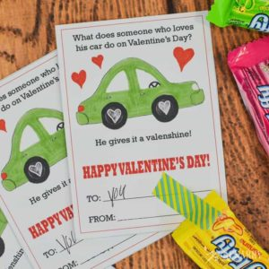 Car Valentines: Free Printable Cards for Kids