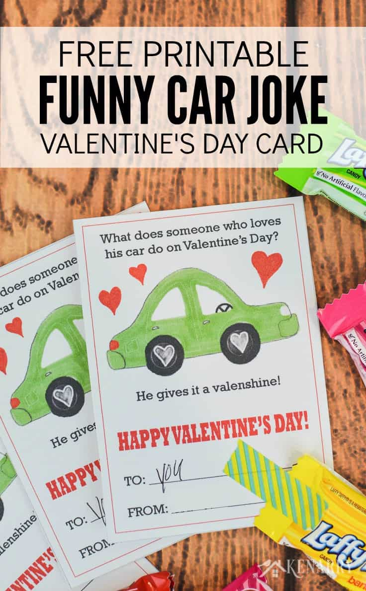 picture about Printable Valentine Day Cards for Kids titled Auto Valentines: Totally free Printable Valentines Working day Playing cards for Small children