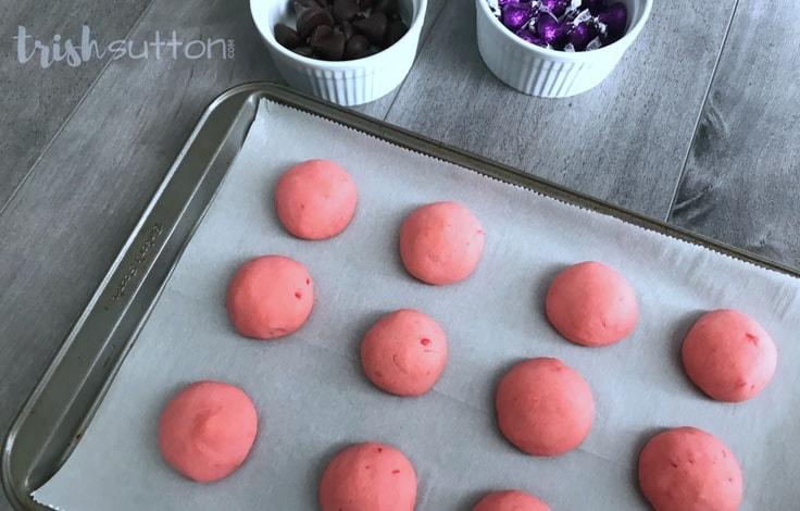 Cherry Chocolate Kiss Valentine Cookie Recipe; TrishSutton.com