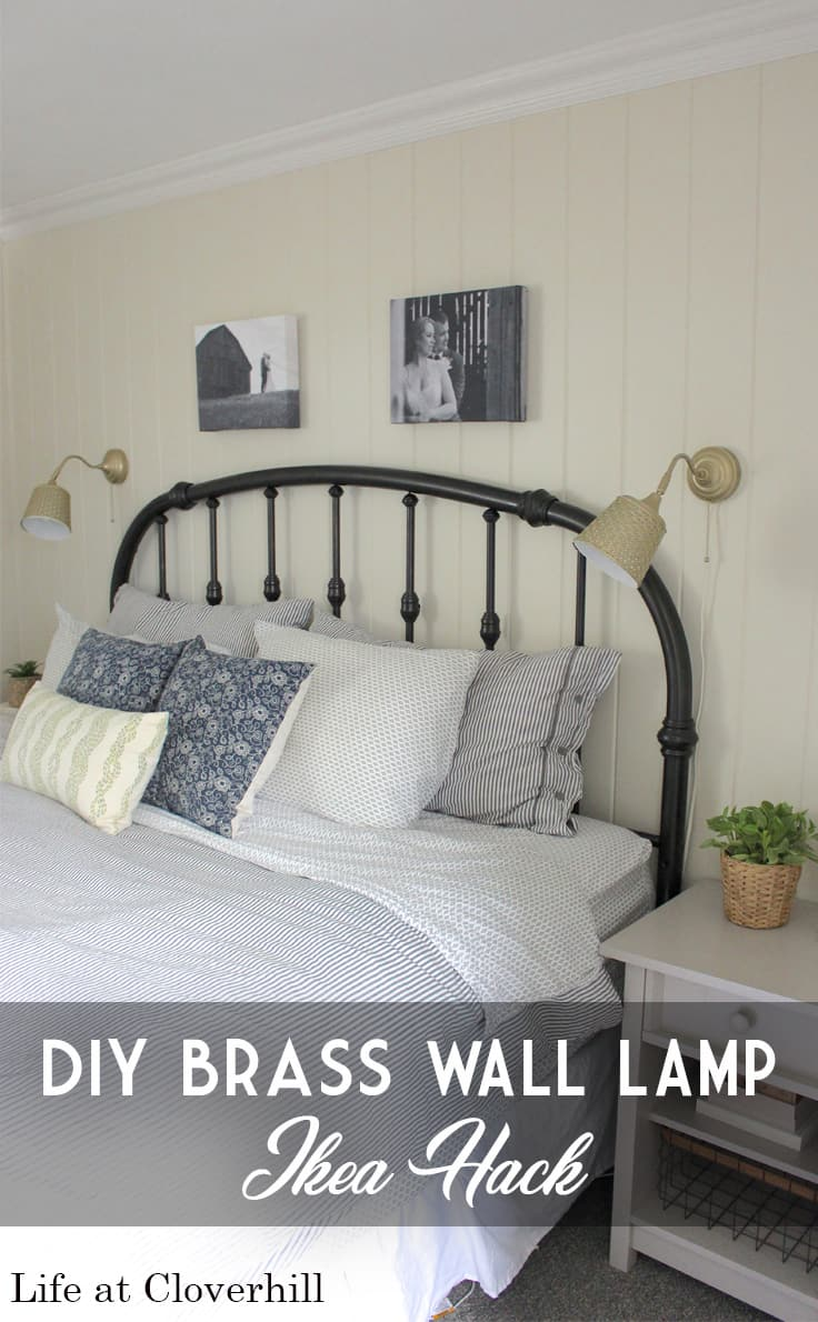 A bed with brass IKEA lamps hanging on the wall - DIY Brass wall lamp IKEA hack