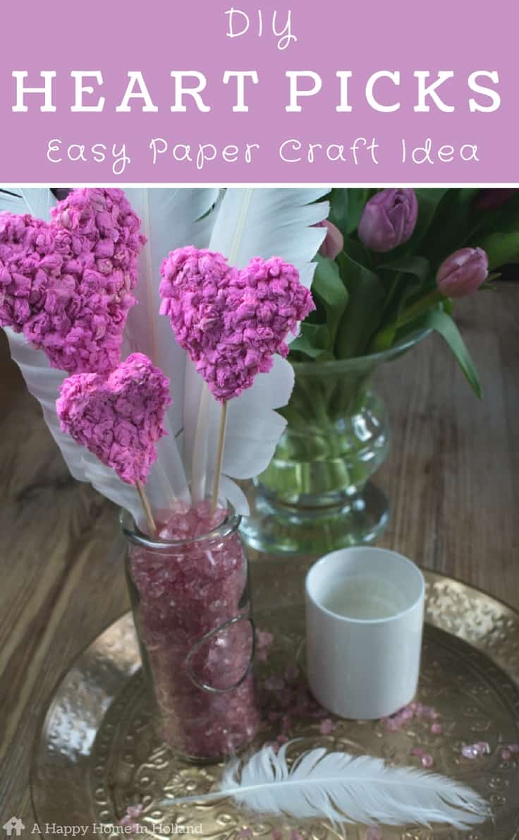 Diy Paper Heart Picks Kids Craft Idea For Valentines Mothers Day