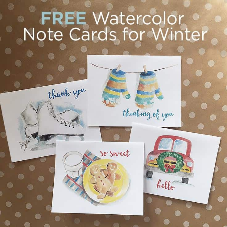 FREE Watercolor Note Cards for Winter