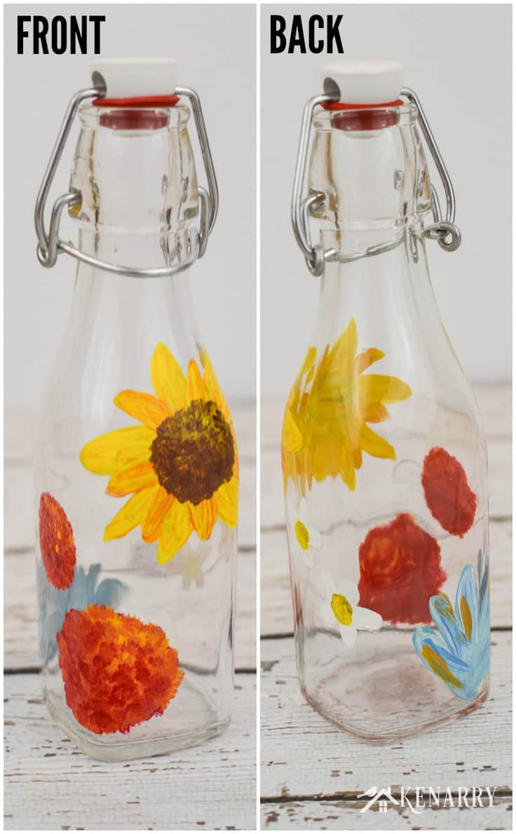 Hand paint a clear glass bottle with a lid to hold coffee creamer. The floral design of this painted bottle goes great with the DIY coffee mugs at Kenarry.com