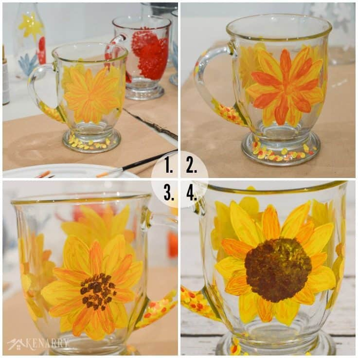Use thin layers of gloss enamel craft paint to create a beautiful sunflower on the side of a clear glass coffee cup. This tutorial for how to paint DIY coffee mugs will show you how!