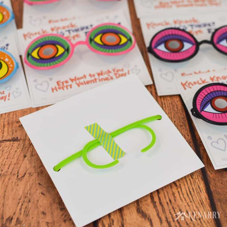 Washi tape keeps funny glasses from falling out of these knock knock valentines for kids. They're a fun idea for a non-candy Valentine's Day treat for the school party.
