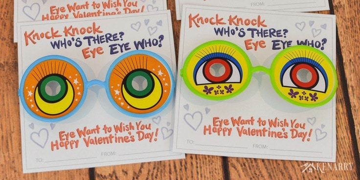 A funny joke and silly glasses make these knock knock valentines for kids a big hit at any school Valentine's Day party!