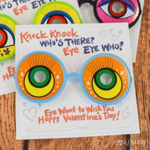 Kids love these knock knock valentines with funny glasses. Get the free printable valentine's day cards now at Kenarry.com