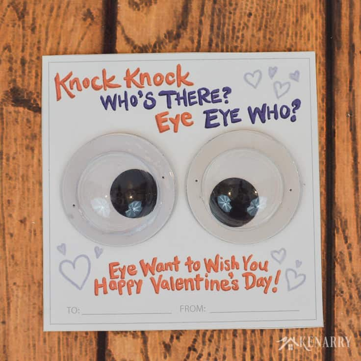 Use large googly eyes to dress up these funny kids Valentine cards. You can find these free printable knock knock valentines for kids at Kenarry.com - perfect for Valentine's Day on a budget!