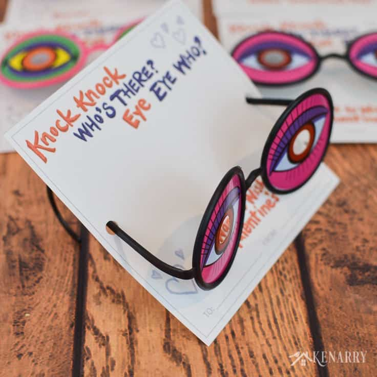 Use silly glasses and these funny knock knock joke valentines for kids to bring laughter to your child's Valentine's Day party at school. The free printable Valentine cards are available at Kenarry.com