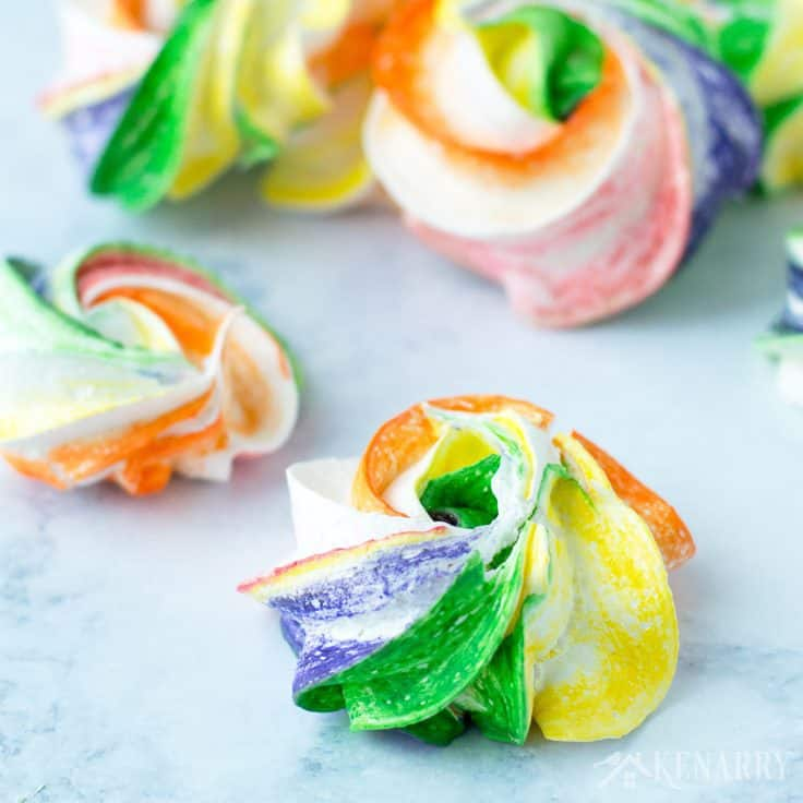It's so easy to learn how to make your own meringues! This recipe for Rainbow Meringues will teach you how to make a fun and festive dessert for St. Patrick's Day party, Mardi Gras or a birthday party too.