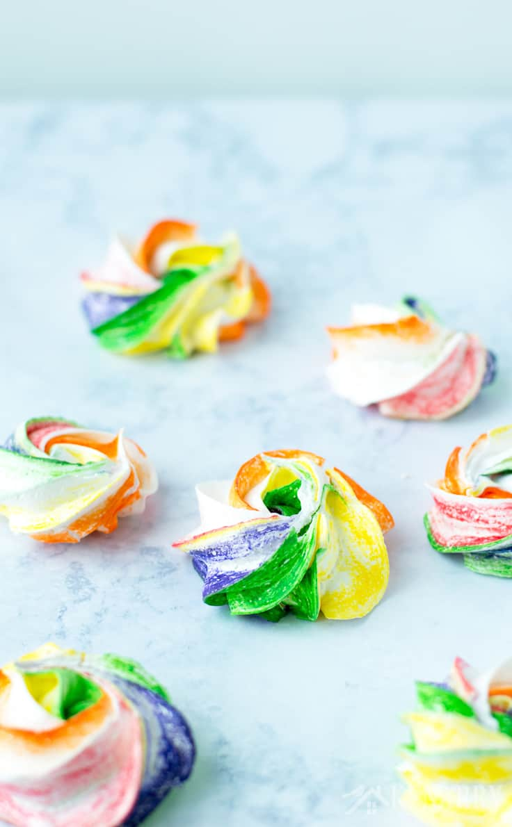 Need an easy recipe idea for a St. Patrick's Day party? Try these colorful and fun Rainbow Meringues! They're the perfect treat idea for Mardi Gras or a birthday party too.