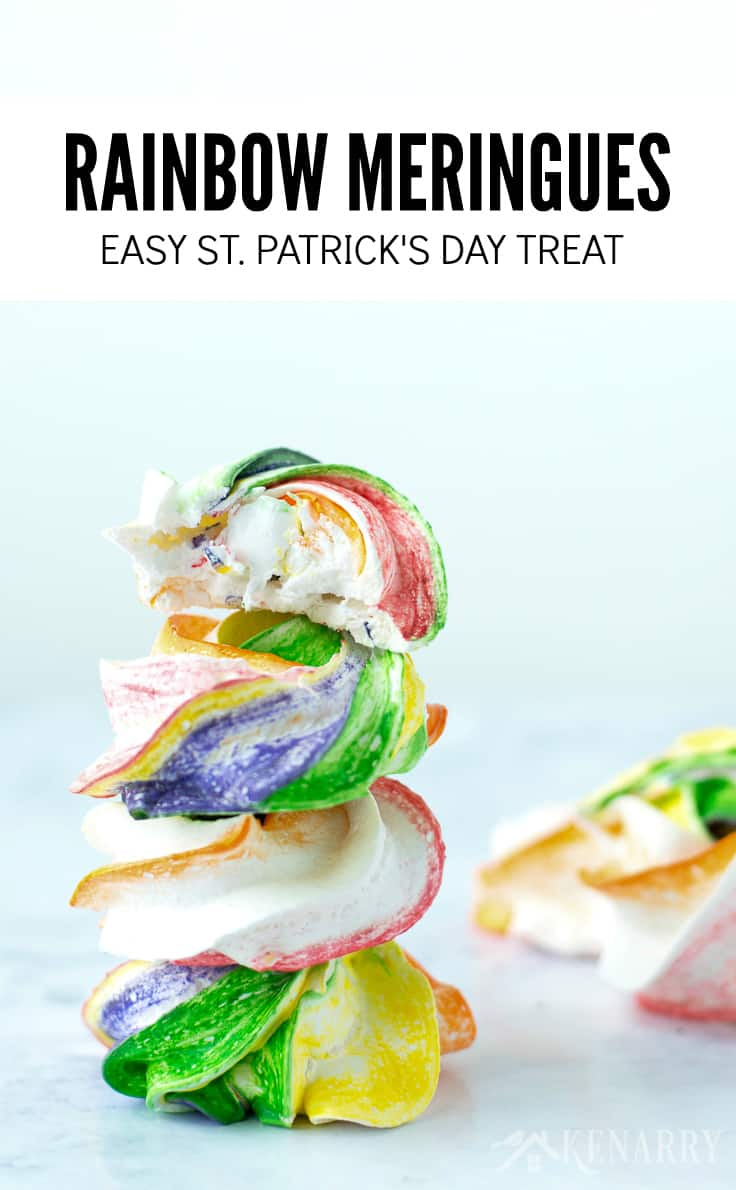 Need an easy recipe for your St. Patrick's Day party? These colorful and fun Rainbow Meringues are the perfect treat! They work great for Mardi Gras or a birthday party too.