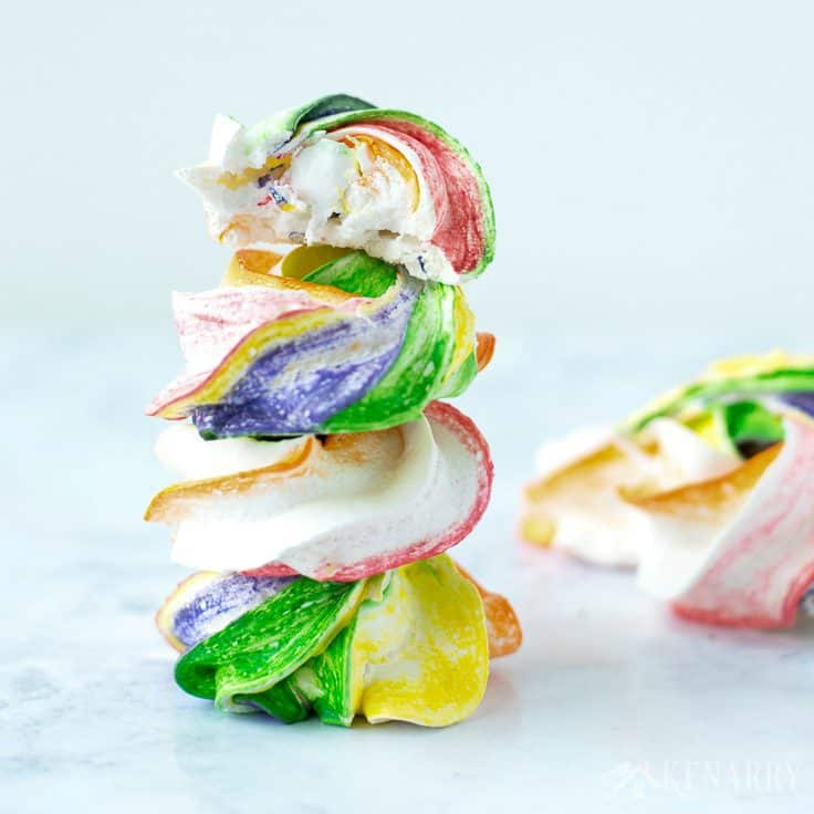 Colorful and easy Rainbow Meringues are the perfect treat for your St. Patrick's Day party. This easy recipe makes a fun dessert for Mardi Gras or a birthday party too.