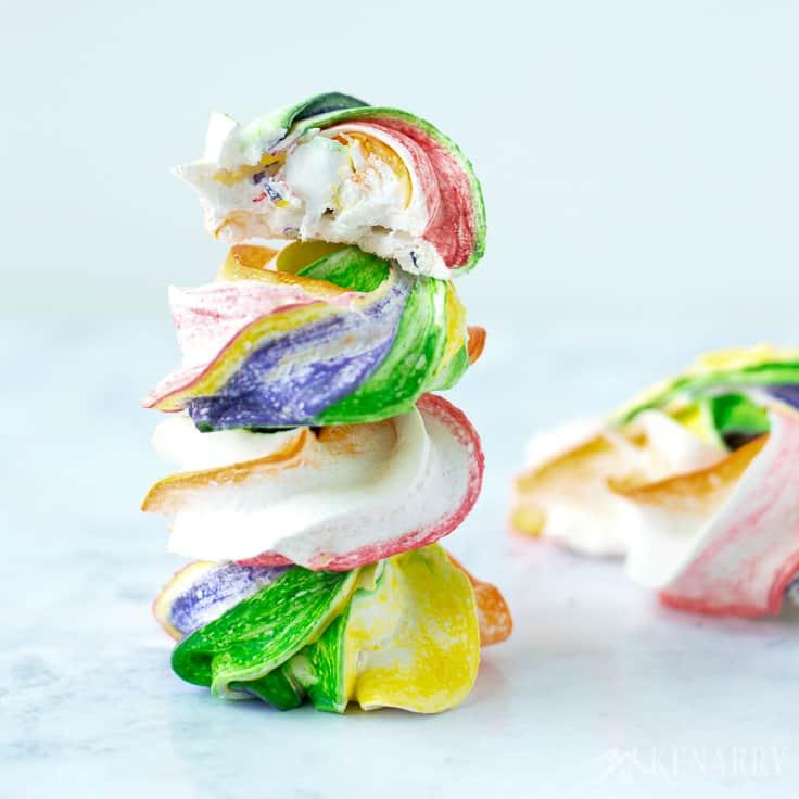 4 stacked rainbow meringues