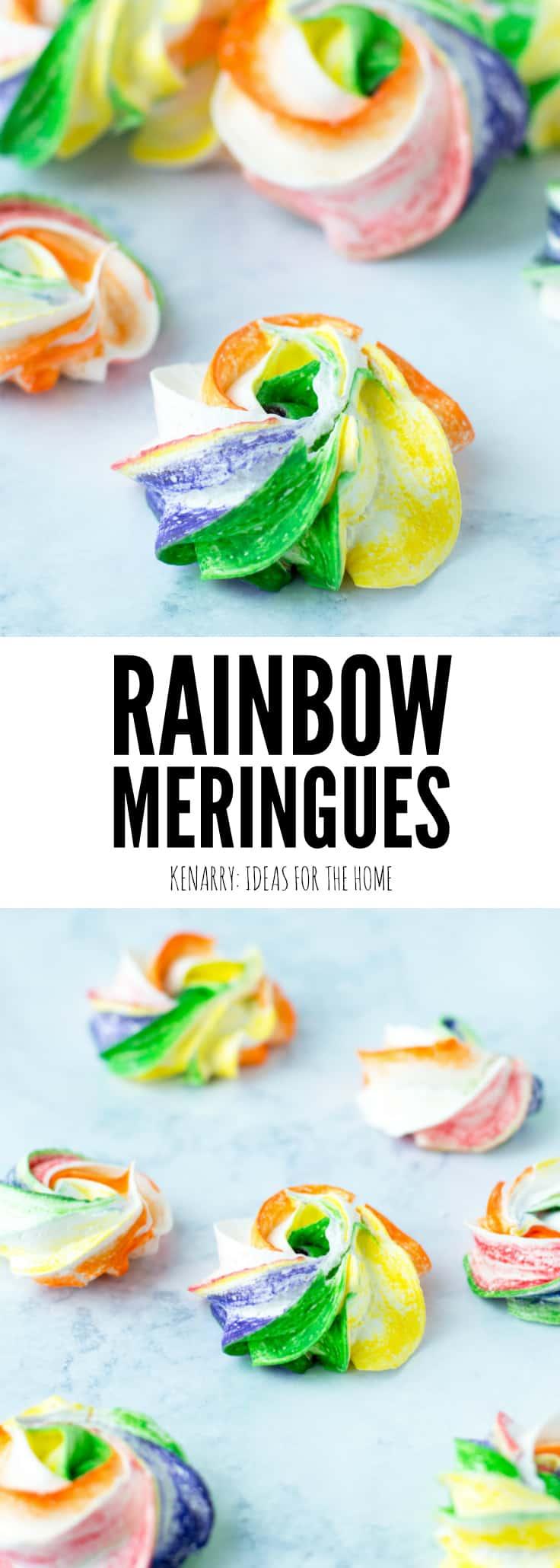 rainbow meringue cookies on a marble surface