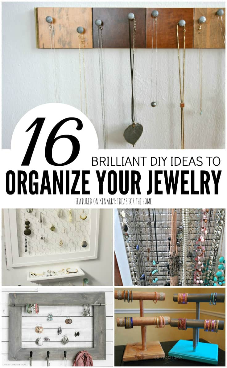 Need a stylish and functional necklace organizer to store all your pretty jewelry? You can easily make your own with the 16 ideas we're sharing today for DIY Jewelry Organizers.