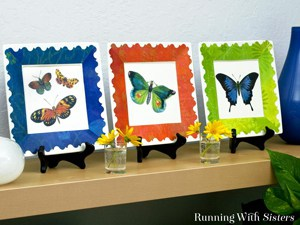 Decoupage plates with colorful butterflies !
