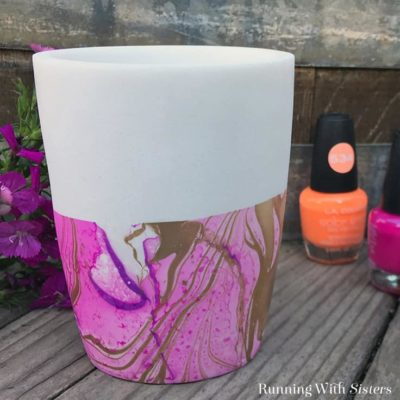 Learn to marble a vase using nail polish and water! It's called suminagashi and we'll show you how to do every step! We've got a how to video plus step by step instructions. This one is fast and fun!