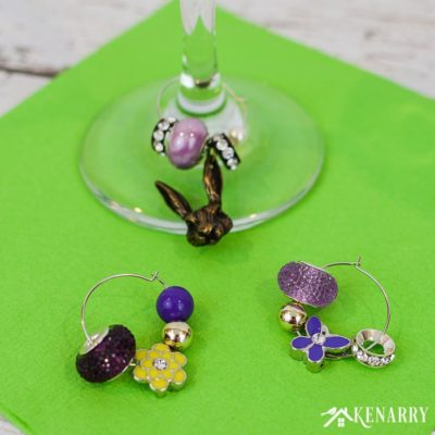 Learn how to make Easter wine charms as a DIY gift for friends and neighbors. This super easy craft idea is the perfect hostess gift for spring.