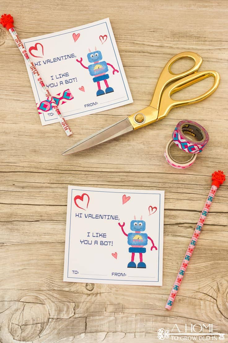 These fun robotValentine cards look cute enough by themselves, but dollar store pencils and erasers make them irresistible to kids.