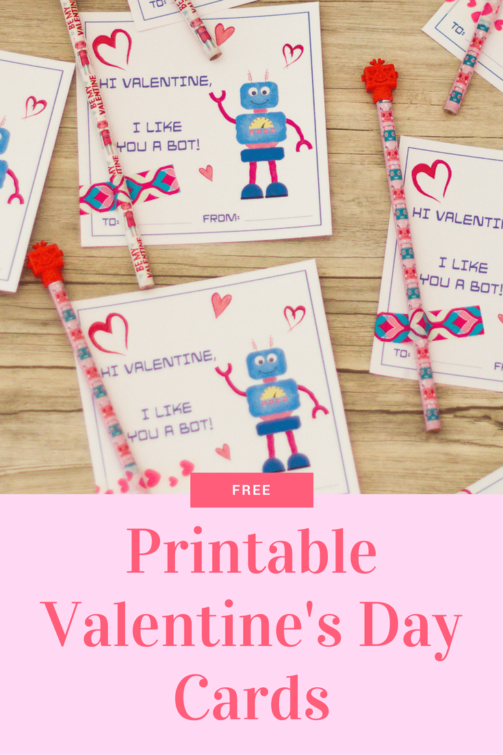 picture regarding Printable Valentines Day Cards for Kids called Robotic Valentine Playing cards: Cost-free Printable Playing cards for Children