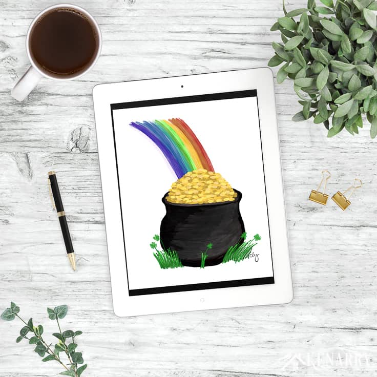This budget friendly St. Patrick's Day Pot of Gold Art would be great to use as clip art or to print and frame as home decor. You'll find it exclusively in the Kenarry: Ideas for the Home shop on Etsy.