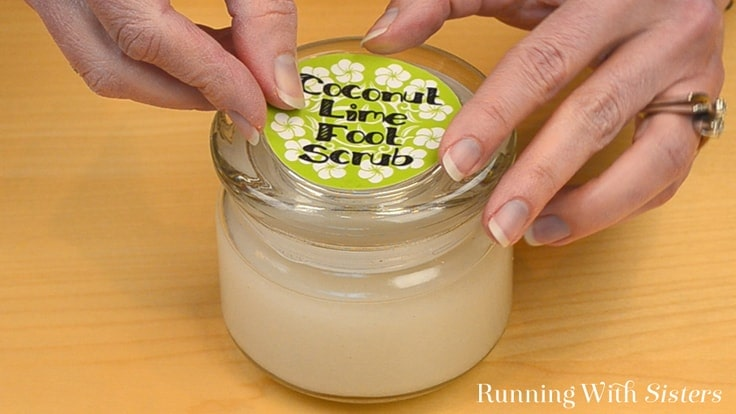Make your own refreshing Coconut Lime Foot Scrub, then download and print the label to create a pretty gift craft in a jar!