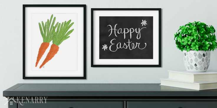 This printable Easter art helps you easily update your walls with spring home decor. The collection includes carrots and Happy Easter chalkboard art print.