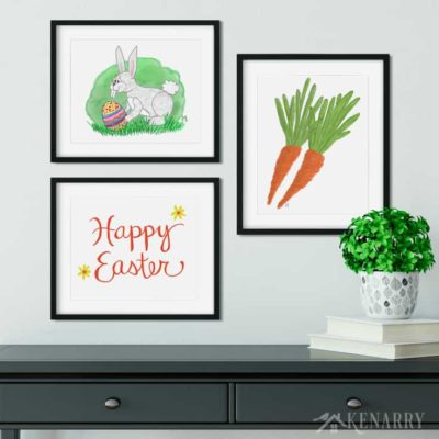 This printable Easter art helps you easily update your walls with spring home decor. The collection includes carrots, a Happy Easter art and a whimsical Easter bunny.