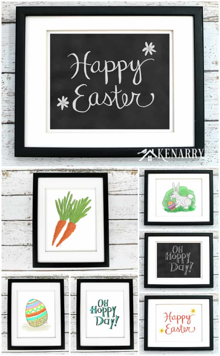 This printable Easter art helps you easily update your walls with spring home decor. The collection includes an Easter egg, carrots, Happy Easter art, chalkboard prints and a whimsical Easter bunny.