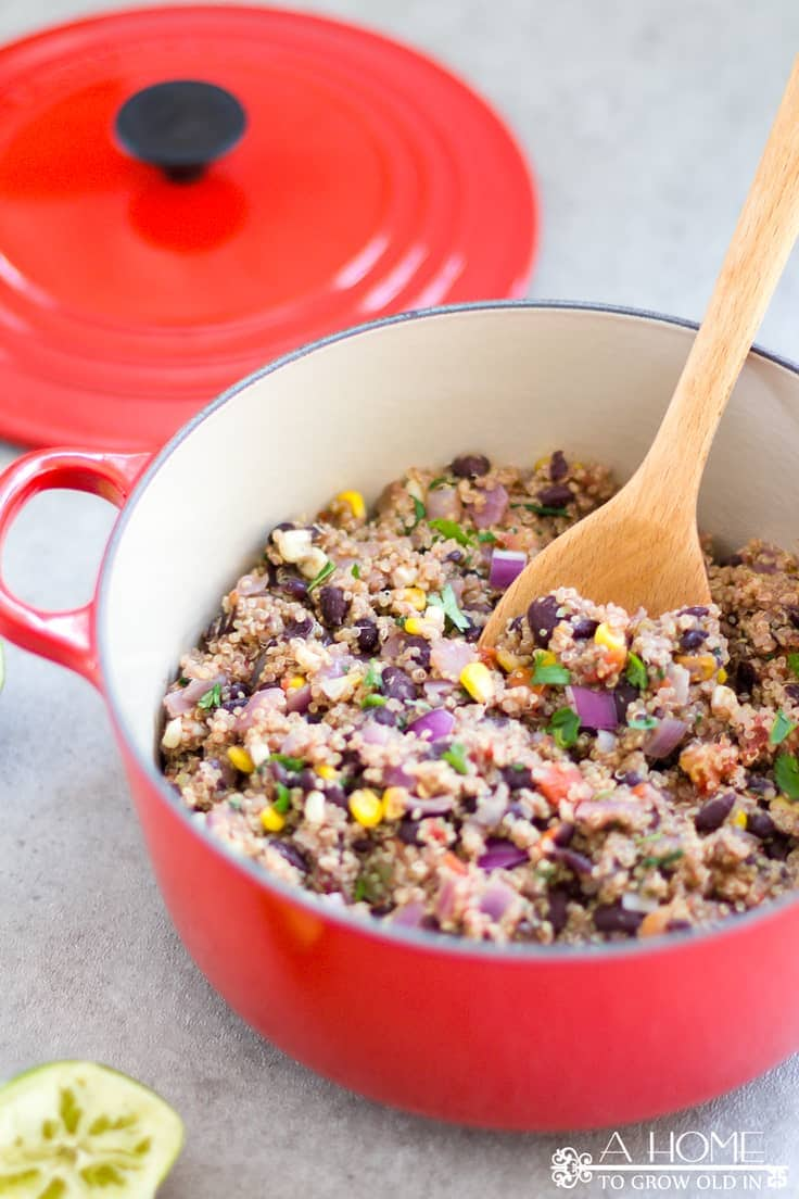 This easy Mexican quinoa recipe has so much flavor it's hard to believe how healthy it is!  It's full of protein and fiber and will keep you feeling full for hours. And, amazingly, it's only 3 Weight Watchers Freestyle points!