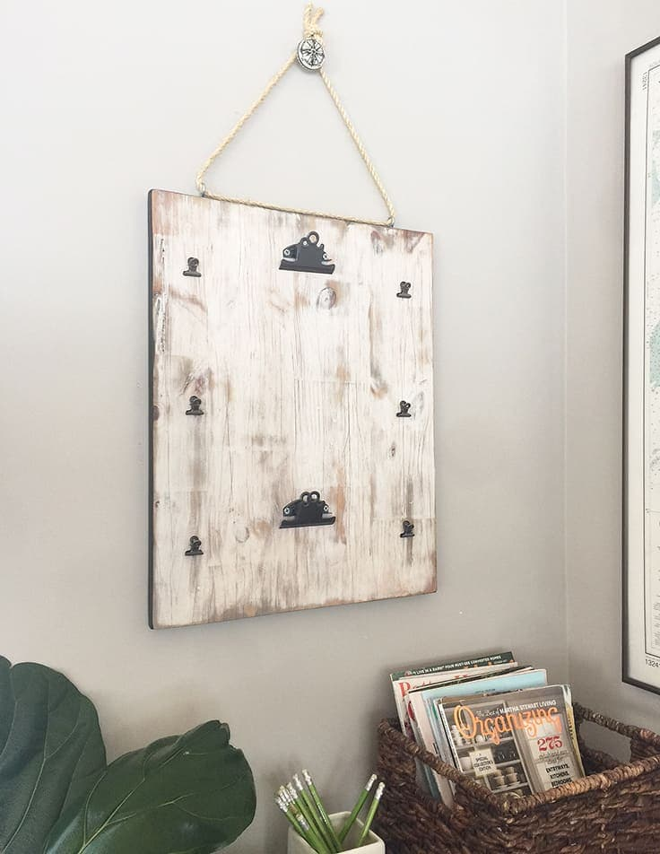 DIY distressed wood hanging organizer