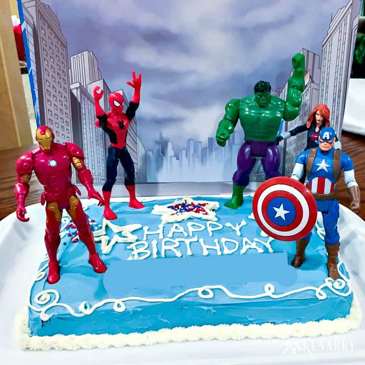 Fabulous Avengers Birthday Cake Idea And Party Supplies Kenarry Personalised Birthday Cards Veneteletsinfo
