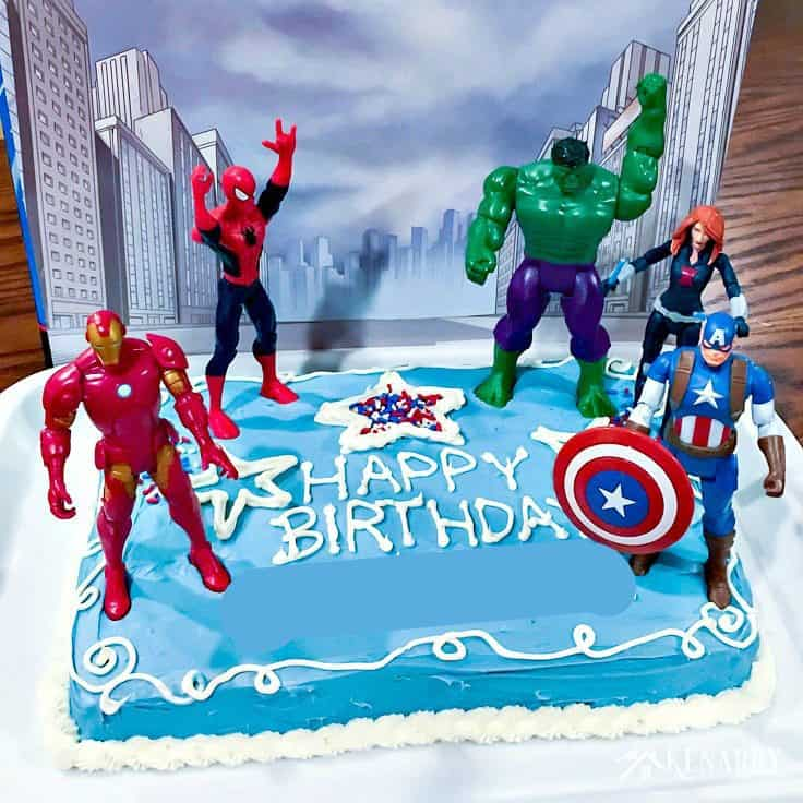 Awesome Avengers Birthday Cake Idea And Party Supplies Kenarry Personalised Birthday Cards Veneteletsinfo