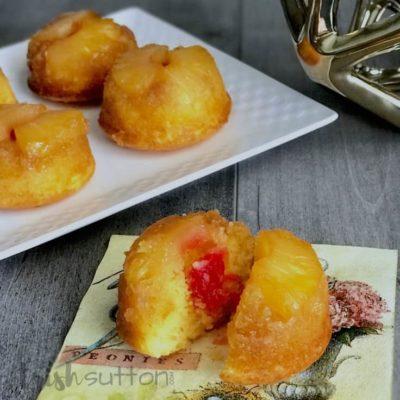 Pineapple Upside Down Cupcake Muffins Recipe; TrishSutton.com