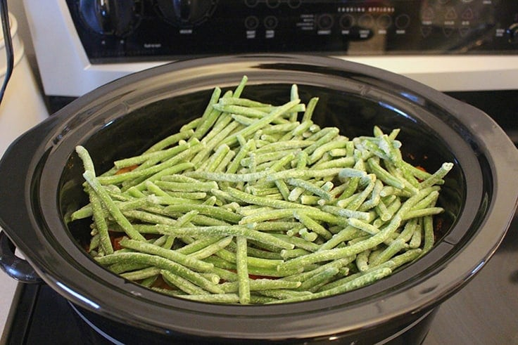 frozen green beans added to Slow Cooker Honey Garlic Chicken and Vegetables